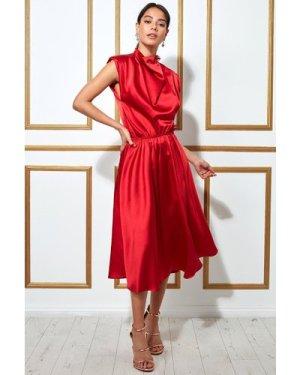 Goddiva High Collar Satin Midi Dress with Shoulder Pads - Red