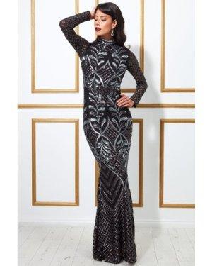 Goddiva Sequin Mesh Maxi With High Collar Dress - Black
