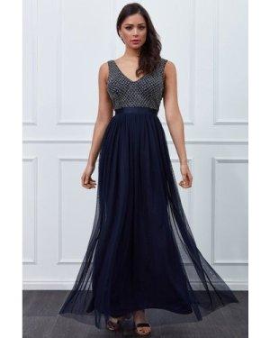 Goddiva Sequin Bodice Pleated Maxi Dress - Navy