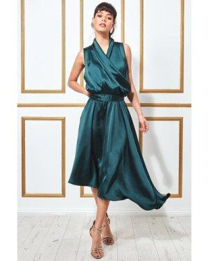 Goddiva Wrap Style High Low Satin Midi Dress - Emerald