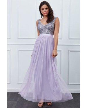 Goddiva Sequin Bodice Pleated Maxi Dress - Lavender