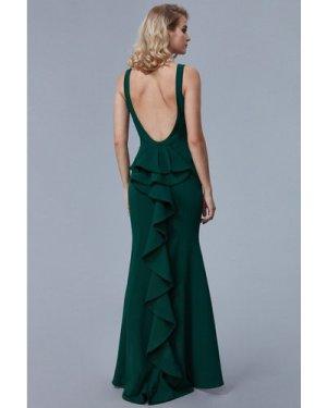 Goddiva Halter Open Back Maxi Dress with Frill Detail - Emerald