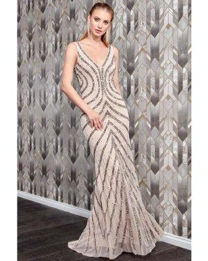 Danaya Hand Embellished Sleeveless Occasion Maxi Dress - Nude