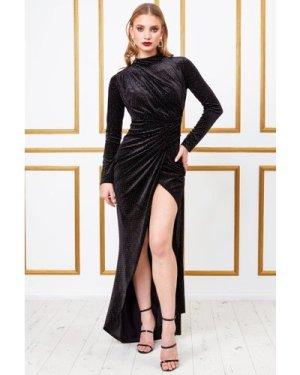 Goddiva Velvet High Collar Wrap Dress - Black