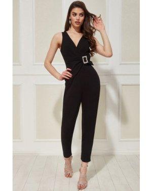 Vicky Pattison - Buckle Plunge Jumpsuit - Black