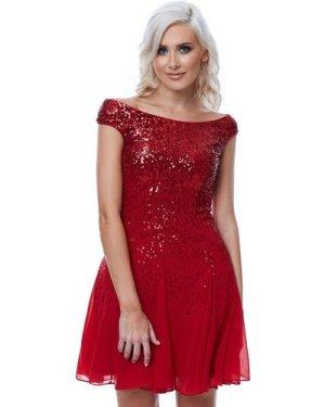 Stephanie Pratt – Sequin and Chiffon Mini Dress - Red
