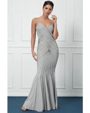 Goddiva Sleeveless Embellished Maxi Dress - Silver