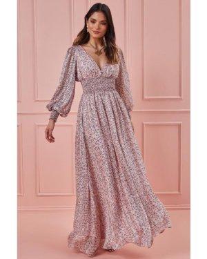 Goddiva Long Sleeve Floral Print Maxi with Shirred Waistband - Blush
