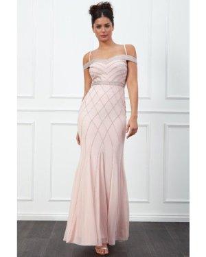 Goddiva Off the Shoulder Embroidered Sequin Maxi Dress - Blush