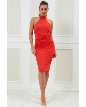 Vicky Pattison – Halter Neck Midi Dress - Orange