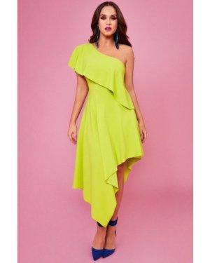 Vicky Pattison – One Shoulder Frilled Midi Dress - Lime