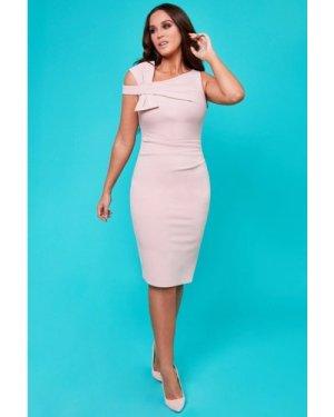 Vicky Pattison – Side Shoulder Bow Midi Dress - Blush