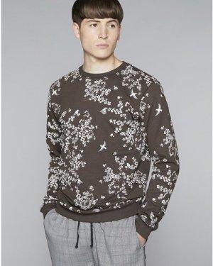 Bellfield Perette Mens Sweatshirt | Black / Olive, Extra Large