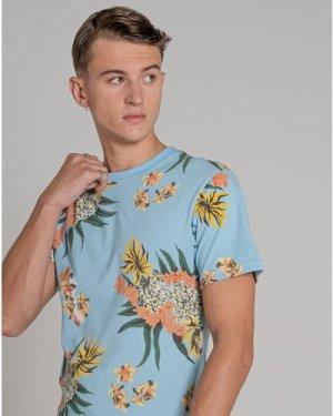 Bellfield Troy Printed Mens Organic T-Shirt   Pale Blue, Large