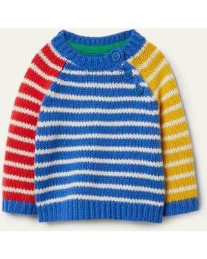 Stripy Hotchpotch Jumper Blue Baby Boden, Blue