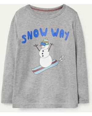 Festive Graphic T-shirt Grey Boys Boden, Grey