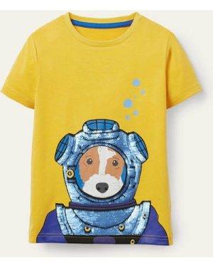 Animal Sequin T-shirt Yellow Boys Boden, Yellow