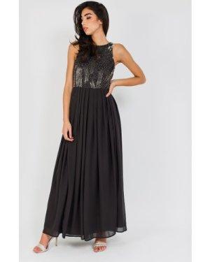 Lace & Beads Trudie Black Maxi Dress