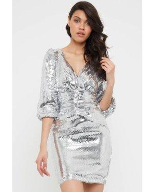 TFNC Lazuli Silver Sequin Mini Dress