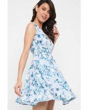 TFNC Nordi Print Light Blue Mini Dress