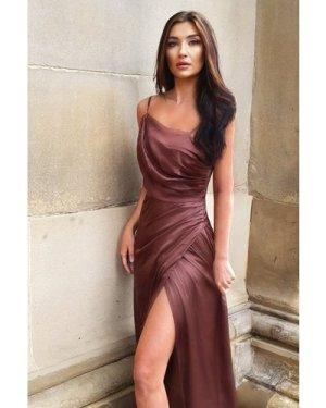 TFNC Lylah Chocolate Satin Maxi Dress