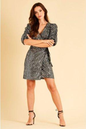 Skirt & Stiletto Lina Black and Silver Sequin Mini Dress