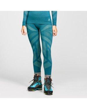 Odlo Women's Natural + Kinship Baselayer Leggings - Blue/Grn, Blue/GRN