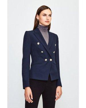 Karen Millen Tailored Button Military Blazer -, Navy