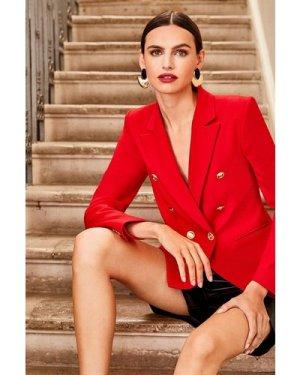 Karen Millen TailoButton Military Blazer -, Red