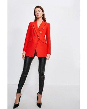 Karen Millen Longline TailoMilitary Button Blazer -, Red