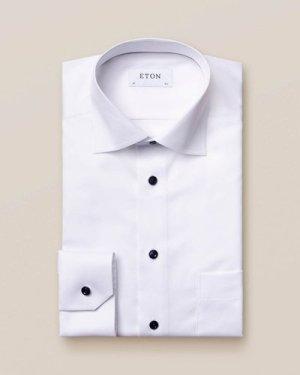 White Twill Shirt – Dark Blue Details
