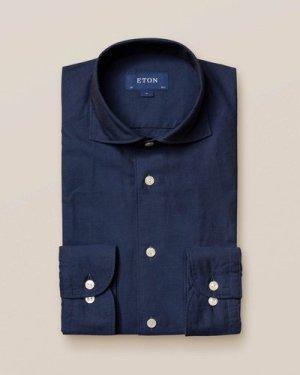 Dark Blue Cotton and Silk Shirt