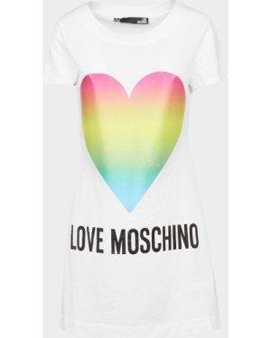 Women's Love Moschino Rainbow Heart Dress White, White