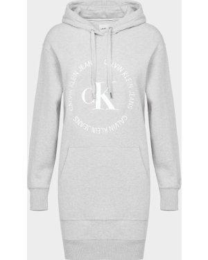 Women's Calvin Klein Jeans Round Logo Hoodie Dress Grey, Grey
