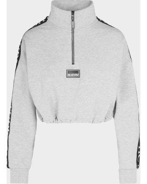Women's Holland Cooper Studio Crop Quarter Zip Sweatshirt Grey, Grey
