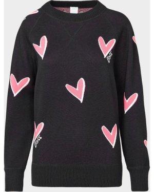 Women's BOSS All Over Heart Logo Sweatshirt Black, Black