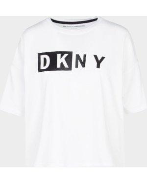 Women's DKNY 2 Tone Crop T-Shirt White, White