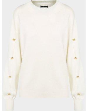 Women's Barbour International Drifting Knitted Sweatshirt White, White