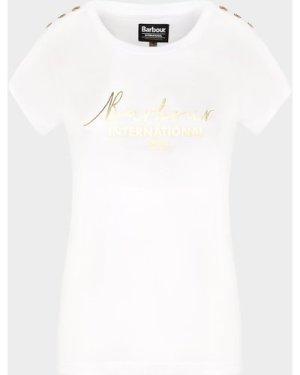 Women's Barbour International Grid T-Shirt White, White/White