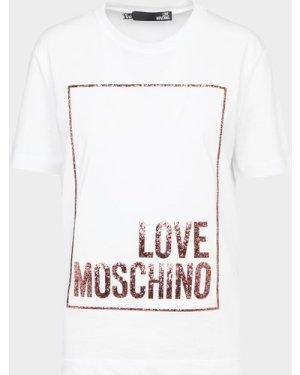 Women's Love Moschino Glitter Box T-Shirt White, White
