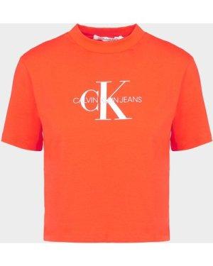Women's Calvin Klein Jeans Monogram Logo T-Shirt Red, Red