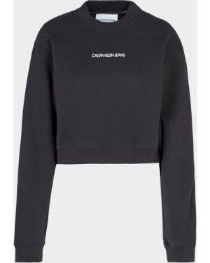 Women's Calvin Klein Jeans Back Monogram Cropped Sweatshirt Black, Black