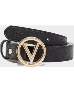 Women's Valentino Bags Round Buckle Belt Black, Black