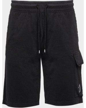Men's C.P. Company Lightweight Lens Fleece Shorts Black, Black