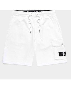 Men's Calvin Klein Jeans Monogram Badge Fleece Shorts White, White/White