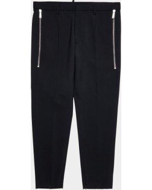 Men's Dsquared2 Slim Wool Zip Pants Black, Black/Black