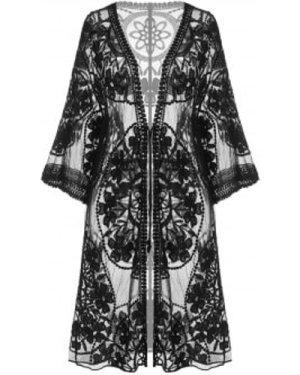 Embroidered Sheer Kimono Cover Up