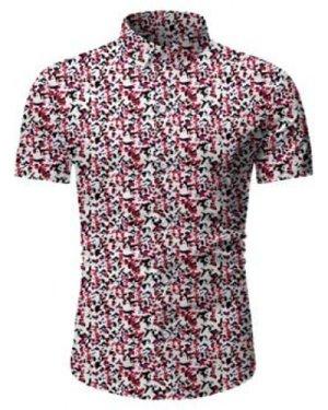 Tiny Flower Button Up Short Sleeve Shirt