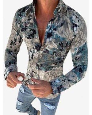Snake Print Button Down Casual Shirt