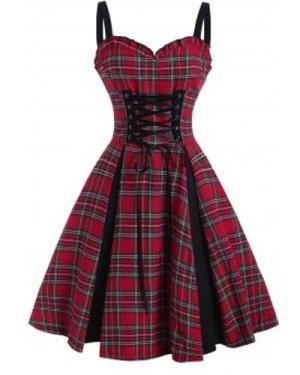 Plaid Lace Up Ruffle Sweetheart Dress